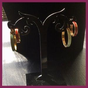 Vtg Goldtone Hoop Earrings, 2pr